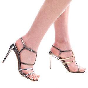 RRP€735 FENDI ROMA Leather Strappy Sandals EU37 UK4 US7 Metallic Made in Italy