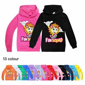 The New Fun Squad Kids Hooded Tops Sweashirt Boys Girls Fashion Hooded Jumper UK
