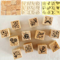 12X Vintage Flower Lace Wooden Rubber Stamp Letters Set DIY Diary X9G6 H0X2