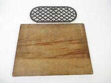 Vintage Wooden Cutting Board + Cast Iron Trivet - Primitive Kitchen Ware Decor