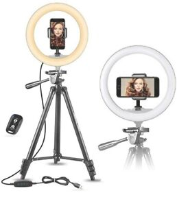 """UBeesize 10"""" Selfie Ring Light with 50"""" Extendable Tripod Stand New"""