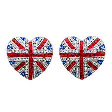 Butler and Wilson Crystal Union Jack Heart Stud Earrings BLACK FRIDAY RRP £34