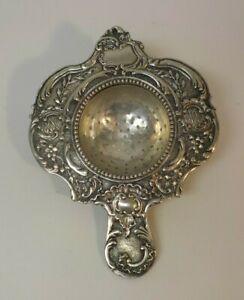 Continental .800 Silver Tea Strainer, Repousse Design, c. 1900, 58 grams