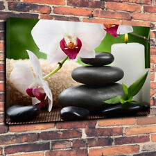 """ZEN pietre calmante con Orchidea Scatola stampata foto su tela A1.30""""x20"""" 30 mm deep"""