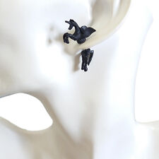 Cool Lovely Cute Black Horse With Wings Charm Chandelier Stud Pierced Earrings