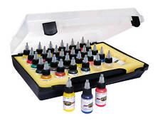 Pro Color Airbush Kit De Pintura En llevar Funda - 28 Colores 2 Botellas Vacías Y Limpiador