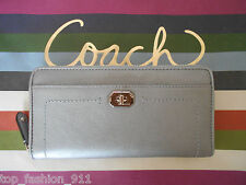 NW COACH SILVER SAFFIANO LEATHER TURNLOCK ZIP AROUND ACCORDION WALLET CLUTCH 258