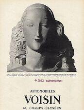 PUBLICITE AUTOMOBILE VOISIN VOITURE PARFAITE TETE FEMME STATUE DE 1926 FRENCH AD