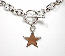 "Star Charm Toggle Link Solid Sterling Silver Necklace 20""  (42 grams)"