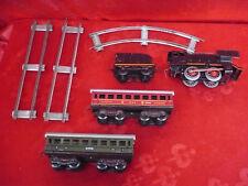 altes Blechspielzeug__Lok mit 2 Wagons__US-Zone__BUB !