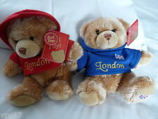KEEL TOYS LONDON  FLAG SOFT HANDMADE TOY BEAR  RED OR BLUE HOODIE  NEW 1 AGE 1+