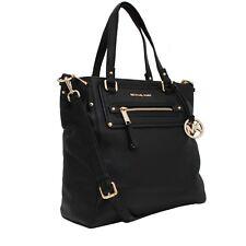Authentic Michael Kors GILMORE Large Black Leather Tote Handbag Shoulder Bag