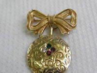 Vintage Signed Avon Pin Brooch Bow Heart Birth Stone Rhinestones Gold Tone Dear