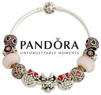 Authentic S925 Sterling Silver Pandora Bangle Disney Minnie Mouse Charm Bracelet