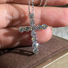 Gorgeous Cross 925 Silver Necklace Pendant Women White Sapphire Wedding Jewelry