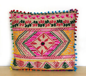 """New 16"""" Pillow Cover 24"""" Square Jute Embroidery Cushion Cover 18"""" Pillowcase D4"""