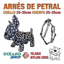ARNÉS PETRAL PERRO NYLON GRIS DE CALIDAD AJUSTABLE CUERPO 25-35cm L99 3379