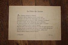 ✒ Adolphe WILLETTE La Prière des Artistes 1914 Villiers de L'Isle Adam