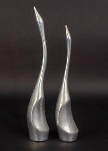Hoselton Canada Signed Aluminum Long Neck Bird Crane Heron Swan Sculptures Pair