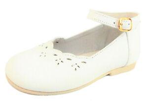 DE OSU - Baby/Toddler Girls' White Leather Dress Shoes - European 18 Size 3