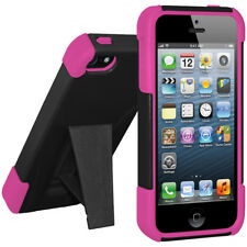 AMZER HOT PINK/ BLACK DOUBLE LAYER RUBBER HYBRID CASE + KICKSTAND FOR iPHONE 5s