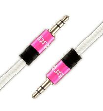 IBRA® 7.5M 3.5mm to 3.5mm Male Jack Audio IPOD AUX MP3 Gold Cable - Pink