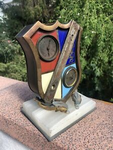 ANTIQUE FRENCH ENAMEL CLOCK SHEILD SHAPE THERMOMETER BAROMETER FOR PART/REPAIR