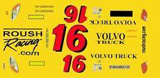 #16 Greg Bifflee Volvo truck 2013 1/32nd Scale Slot Car Decals