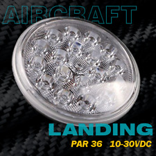 "LED Landing Light for Aircraft ""SPOT"" Lens PAR-36 10-30VDC"