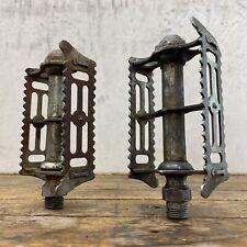 "Vintage Sheffield Pedals Rat Trap Cage 9/16"" long axle threads Eroica Bike Q2"
