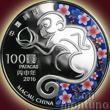 2016 Macau YEAR OF THE MONKEY - 5 OZ Silver Proof Coin Chinese Zodiac Lunar Year