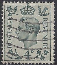 "Great Britain Stamp - Scott #241/A102 4p Gray Green ""George Vi"" Canc/Lh 1938"