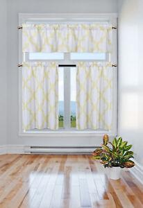 3PC SET KITCHEN SMALL PANELS VALANCE LINED WINDOW CURTAIN GEOMETRIC PRINTED NEW