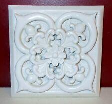 7 inch Square White Ornate Floral Design Resin Wall Sculpture Accent Decor ^