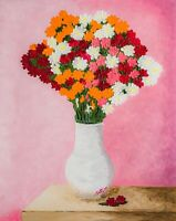 Bouquet Flowers Oil Painting Impasto Floral Still Life Abstract Vibrant Abstract