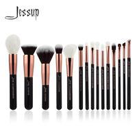 Jessup 15Pcs Professional Make UP  Brush Set Powder Eyeshadow Brow Rose Gold Lip