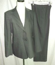 Talbots Career Pant Suit Gray Green 6/8 Petite Italian Wool Blend