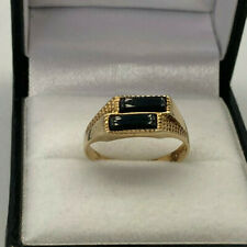 9ct Gold Hallmarked Double Onyx Boys Signet Ring.  Goldmine Jewellers.