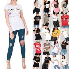 Womens Celeb Designer Inspired Casual Loose Top Ladies T Shirt Slogan Stripe Tee