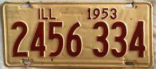 Old Vintage Antique 1953 ILLINOIS Car License Plate Tag