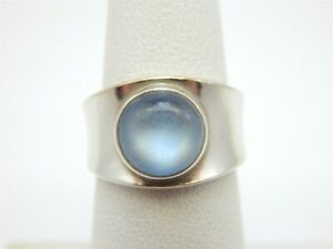 GEORG JENSEN ROUND MOONSTONE SOLITAIRE STERLING SILVER 925 RING SIZE: 5.5