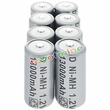8x D Size D-Type D Type 13000mAh 1.2V Ni-MH Rechargeable Battery Cell Grey