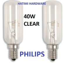 2 X PHILIPS E 14 40W CLEAR LIGHT BULB FOR RANGEHOOD/FRIDGE T25L SES
