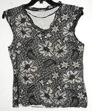BLACK WHITE LADIES PARTY CASUAL BLOUSE FLORAL LIFE STYLE SIZE 10