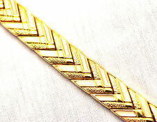 "LADIES 7.75 "" GOLD & WHITE CHEVRON HEALING MAGNETIC THERAPY LINK BRACELET 4 Pain"