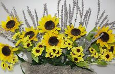 "Silk Sunflowers Lavender Window Box Arrangement for 24"" box / Cemetery Flowers"