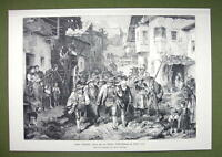 TYROL Peasant Revolt of 1809 Marching Peasants Pitchforks - VICTORIAN Era Print