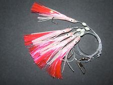 FFT PINK LUMO SQUID MUPPET RIG 5 x 3/0 HOOK COD LURE MACKEREL SPIN BOAT FISHIN