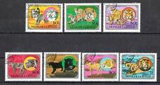 Animaux Félins Mongolie (64) série complète 7 timbres oblitérés