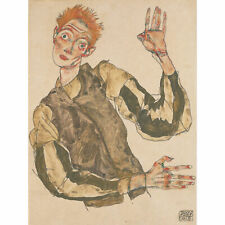 Egon Schiele Self Portrait With Striped Armlets Extra Large Print Canvas Mural